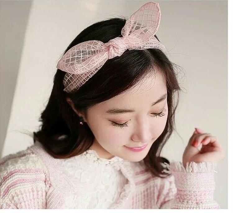 2014 New Korea Fashion Hair Accessories Bunny Ears Hair Hoop Bali Yarn Headband Lattice