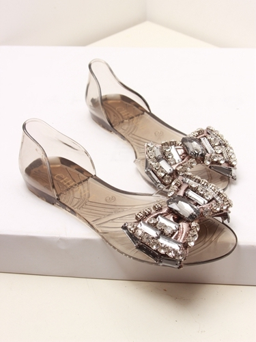2044970f55ce5e 2014 Melissa jelly shoes rhinestone open toe bow transparent crystal  sandals shoes rhinestone e bow jelly flat open toe sandals