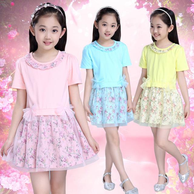 Niños Niñas Nueva Princesa del Verano Coreano Vestido Floral Flores Impresión de Malla Ropa Rosa Azul Amarillo