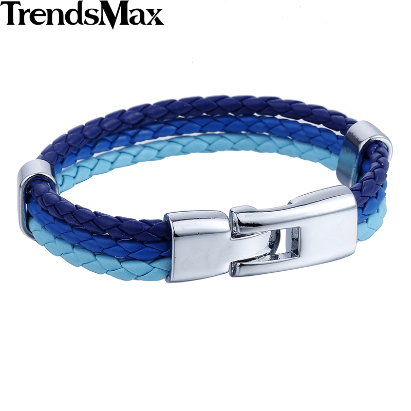 Trendsmax Mens Leather Bracelet 3 Strands National Flag Rope Chain Leather Bracelets For Men 18 Fashion Jewelry Gifts KLBW18 5