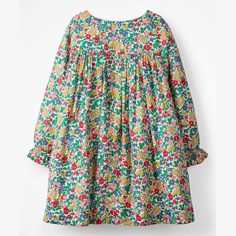 Little Maven Brand Autumn Baby Girls Clothing Draped Dress Cotton Flower Print Toddler Fall Clothes for Kids 2-7 Years S0517 3
