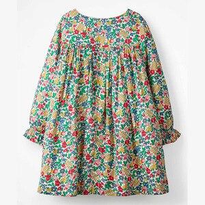 Осенняя одежда для маленьких девочек Little maven, платье с драпировкой, хлопковое платье с цветочным принтом для маленьких девочек, S0517