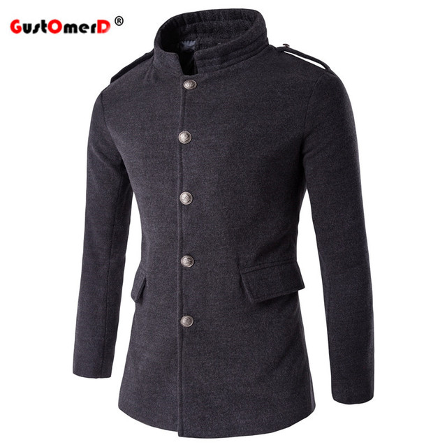 GustOmerD 2016 New Fashion Brand solid stand collar Windbreaker Men Clothes  Slim Fit High-Quality Casual Mens Windbreaker M-5XL
