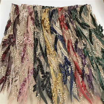 African Lace Fabric 2019 High Quality Lace, Pearls Embroidery Tulle Lace Fabric, African Lace 5 Yards for wedding dress run70-68