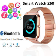 Z60 Smart Watch GT08 Plus Metal Strap Bluetooth Wrist Smartwatch Support Camera Sim TF Card Android&IOS PK Y1 S8 X7D DZ09 V8 A1(China)
