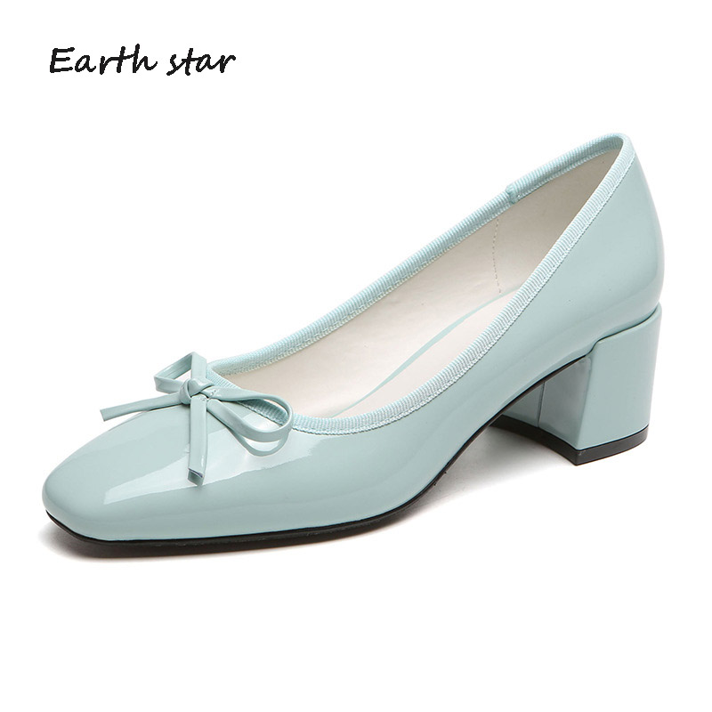 Casual Shoes Women Fashion Brand Med Heel Shoes zapatos de mujer Spring chaussures femme Office Lady footware with Bow Elegant