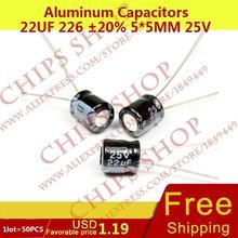 1LOT 50PCS Aluminum Capacitors 22uF 226 20 5 5mm 25V 22000nF 22000000pF Diameter5mm