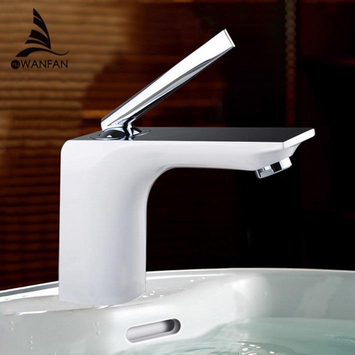 Basin Faucets Modern White Chrome Brass Bathroom Sink Faucet Single Handle Hole Toilet Bath Mixer Water