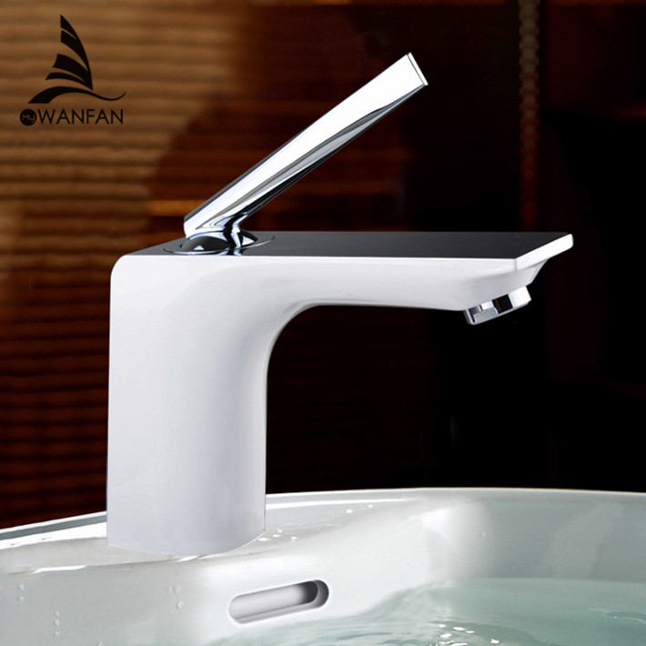 Basin Faucets Modern White Chrome Brass Bathroom Sink Faucet Single Handle Hole Toilet Bath