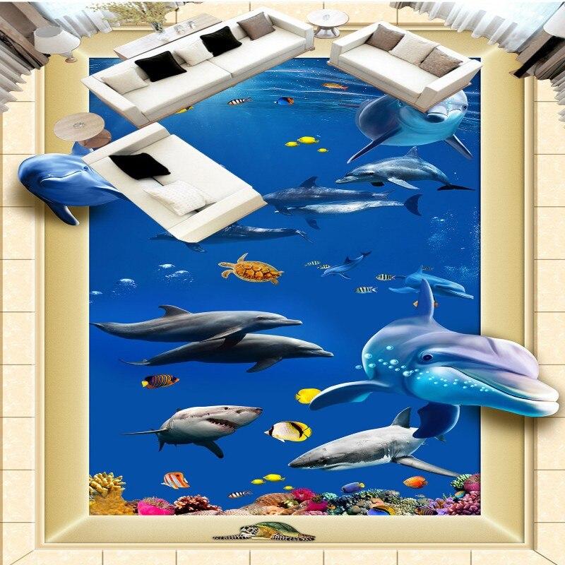 ФОТО Free Shipping Living room bathroom 3D sea world floor painting self-adhesive wear thicken floor wallpaper mural