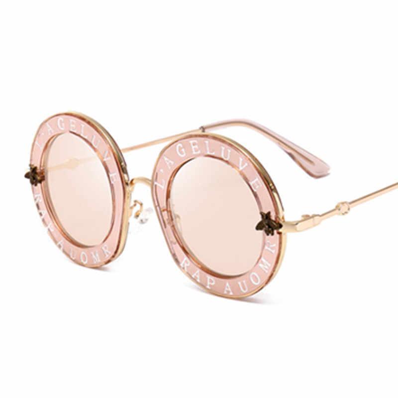HBK Unisex Round Sunglasses Bee Alphabet Big Frame Vintage Retro Women Brand Designer Luxury Men 2018 New Fashion Sun Glasses