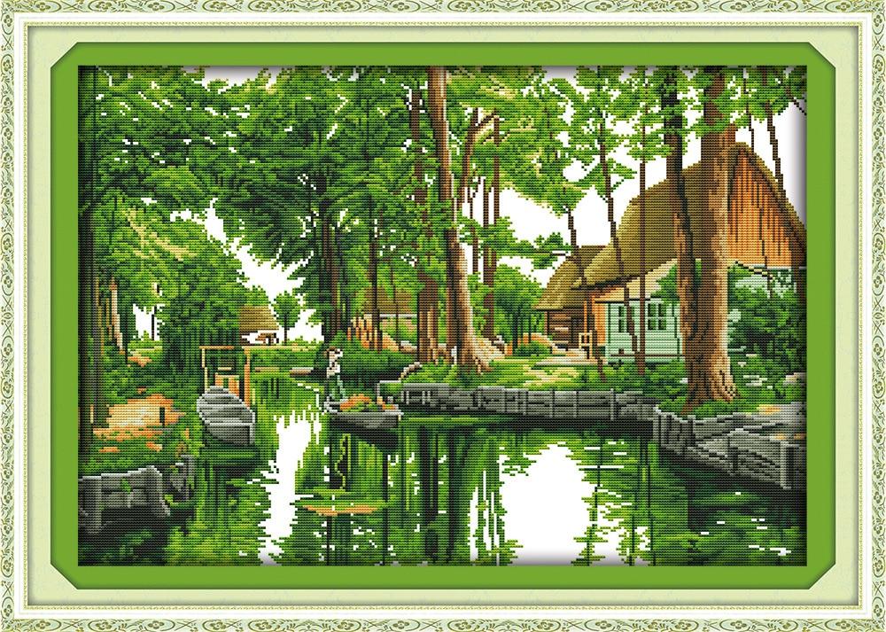 그린 남아시아 감미로운 감정 캔버스 DMC 계산 십자가 스티치 키트 인쇄 크로스 스티치 세트 자수 바느질 작업