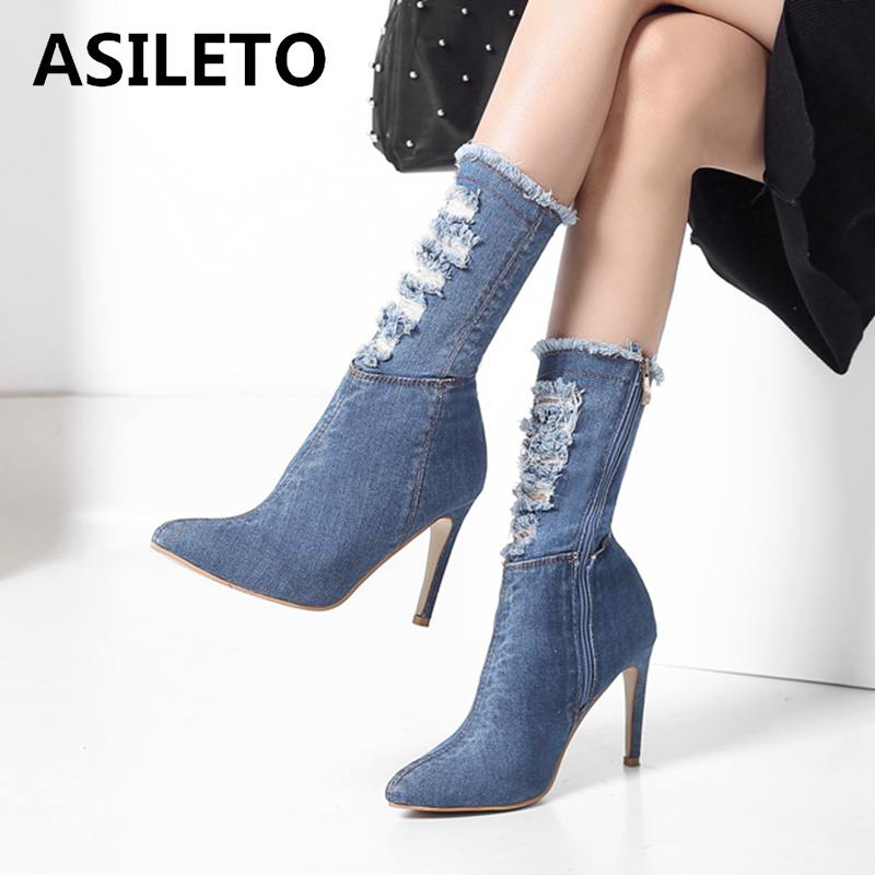 f3fad157c9ca ASILETO Blue jeans boots pointed ankle spring winter shoes woman broken  holes denim thin high heels Stilettos zip bootie botas-in Ankle Boots from  Shoes on ...