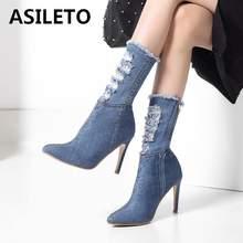 bcdab41540 ASILETO Blue jeans botas apontou tornozelo sapatos de inverno primavera  mulher quebrado buracos denim fina salto alto Stilettos .
