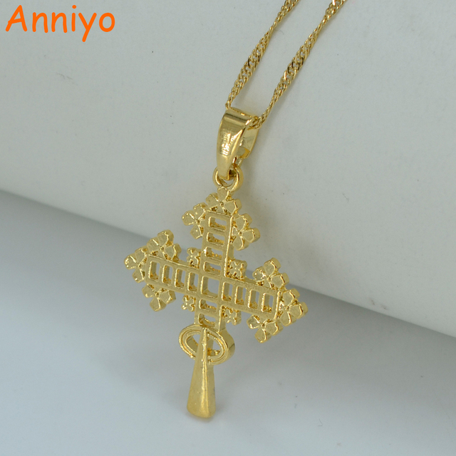 Anniyo new ethiopian cross pendant necklace gold color eretrian anniyo new ethiopian cross pendant necklace gold color eretrian coptic jewelry african abyssinia women girl aloadofball Choice Image