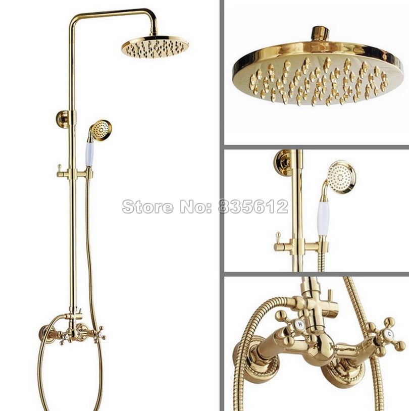 Luxury Gold Color Brass Wall Mounted Rain Shower Faucet Set / Bathroom Dual Handles Mixer Tap + 8 inch Round Shower Head Wgf332