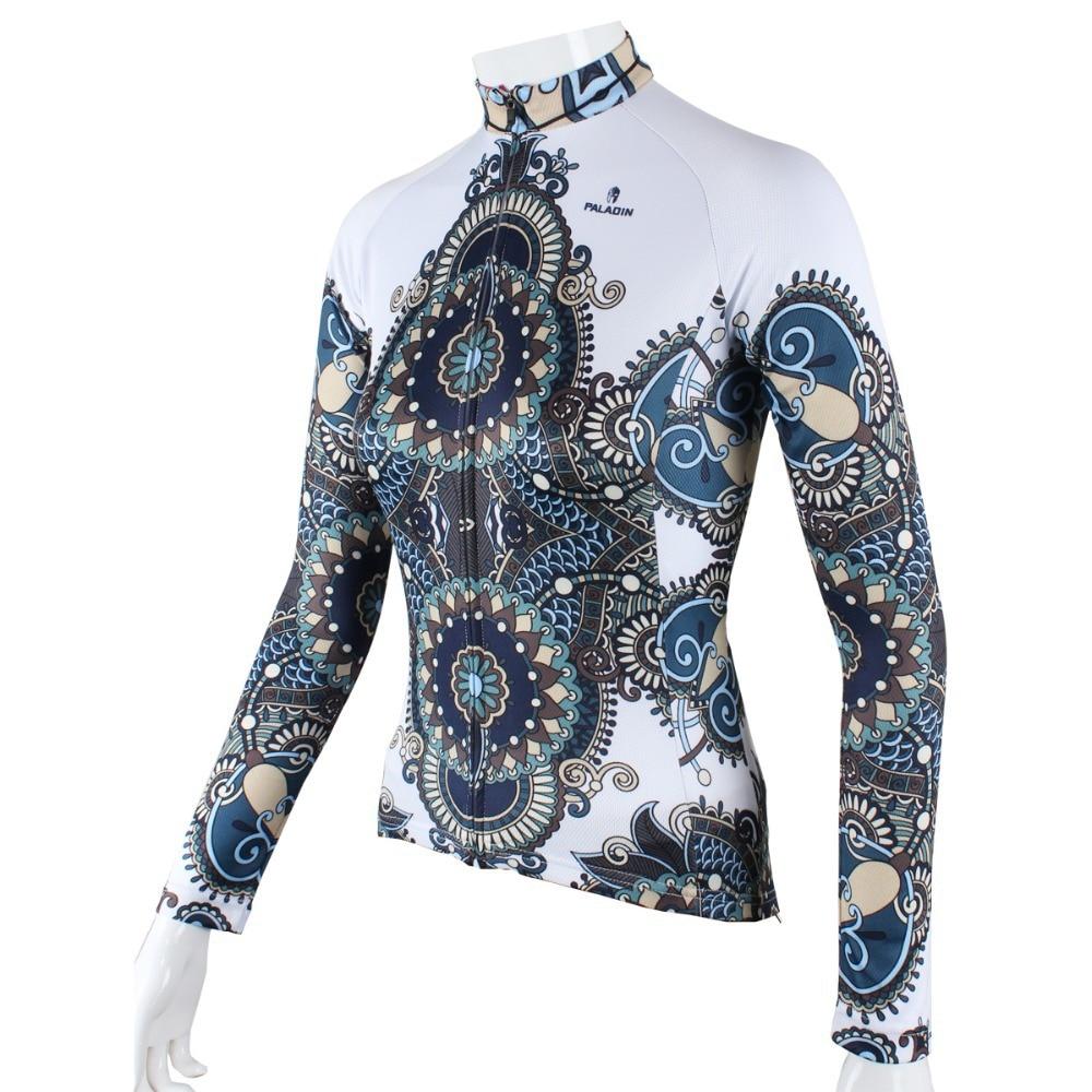 """팔라딘 """"화이트-신비한 장식 패턴""""여자 긴 소매 자전거 저지 자전거 셔츠 자전거 의류"""