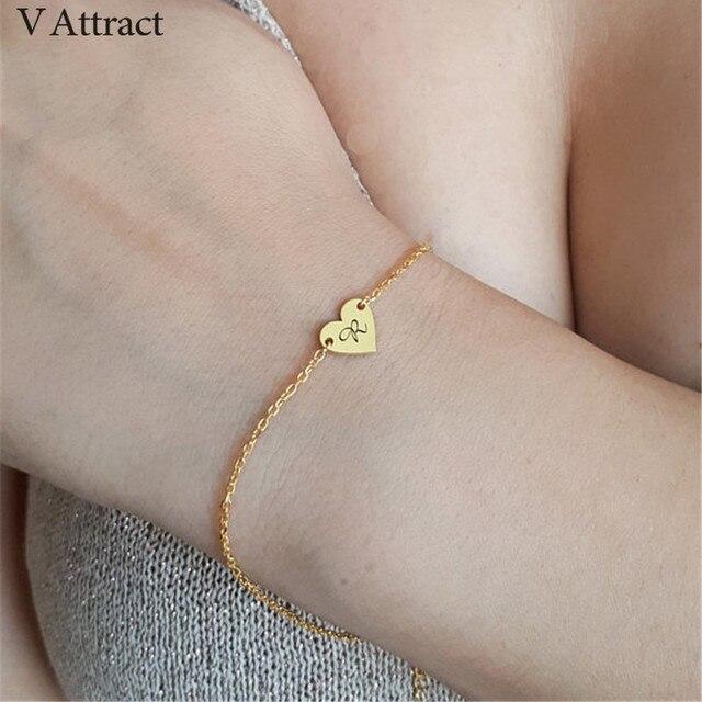 Monogram Bijoux Femme Personalized Heart Initial Bracelet Custom Jewelry  Engraved Letter Bracelets For Women Bridesmaid Gift BFF-in Cuff Bracelets