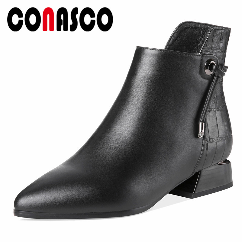 CONASCO 2019 Women Genuine Leather Ankle Boots High Heels Elegant Office Pumps Ladies Short Basic Boots Motorcycle Boots Shoes покрывало на кровать les gobelins mexique 240 х 260 см