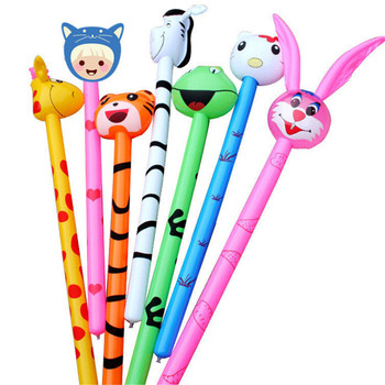 2pcs Long Cartoon Rabbit Tiger Giraffe Ballon Inflatabel Animal Stick balloon Child'S Toy