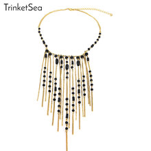 TrinketSea 2017 New Arrival Women Charm Statement Necklace Golden Chain Fashion Jewelry Long Drop Bib Necklaces Free Shipping