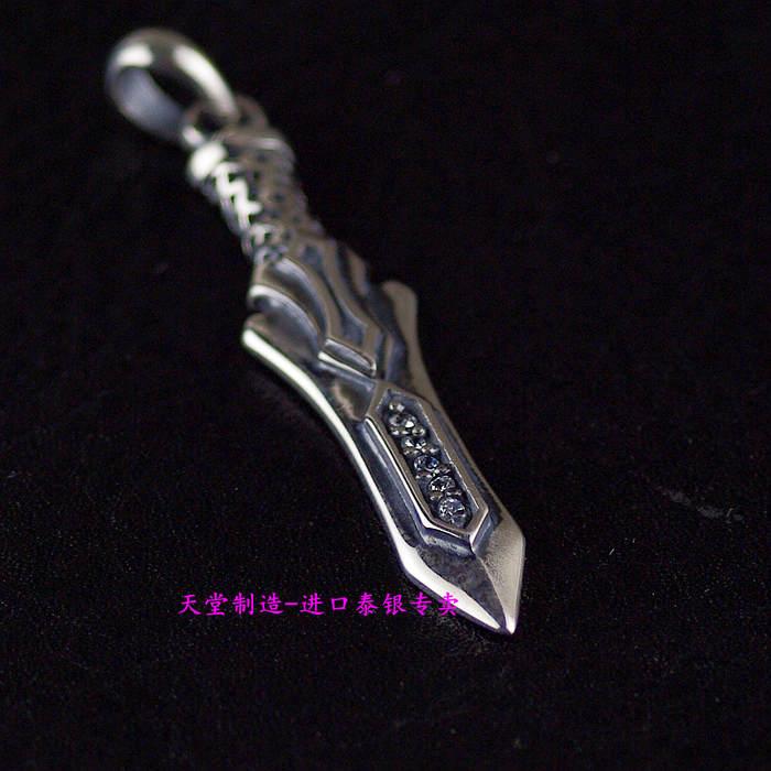 Thailand imports, retro style Zircon Pendant 925 sterling silver silver sword thailand imports retro 925 sterling silver ring skeleton silver eye