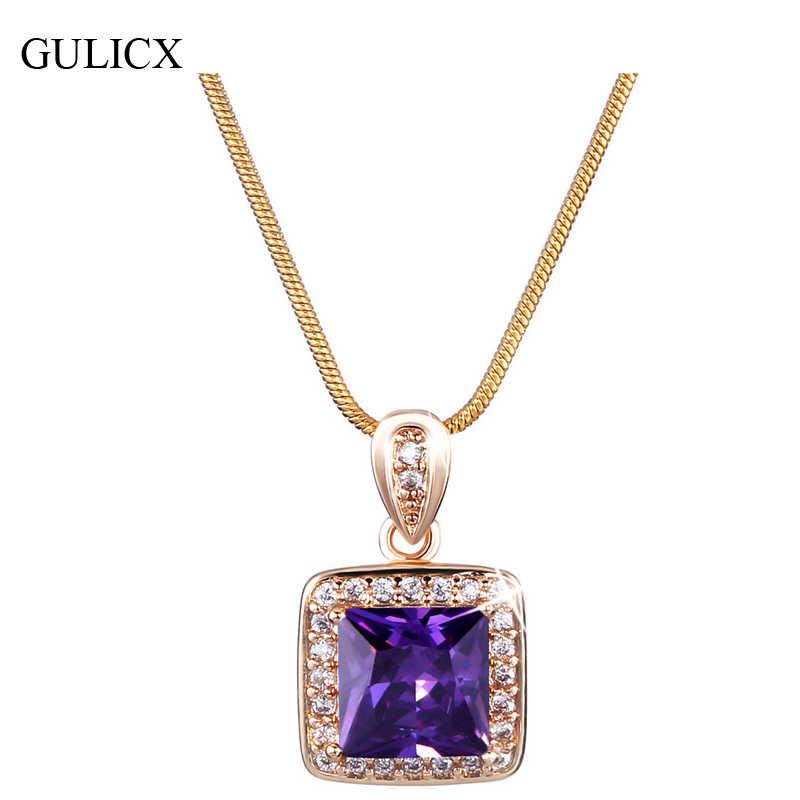 e8f0c2ca69dc Gulicx princesa CZ zirconia joyería para las mujeres oro-color Colgantes  cuarzo cristal púrpura colgante