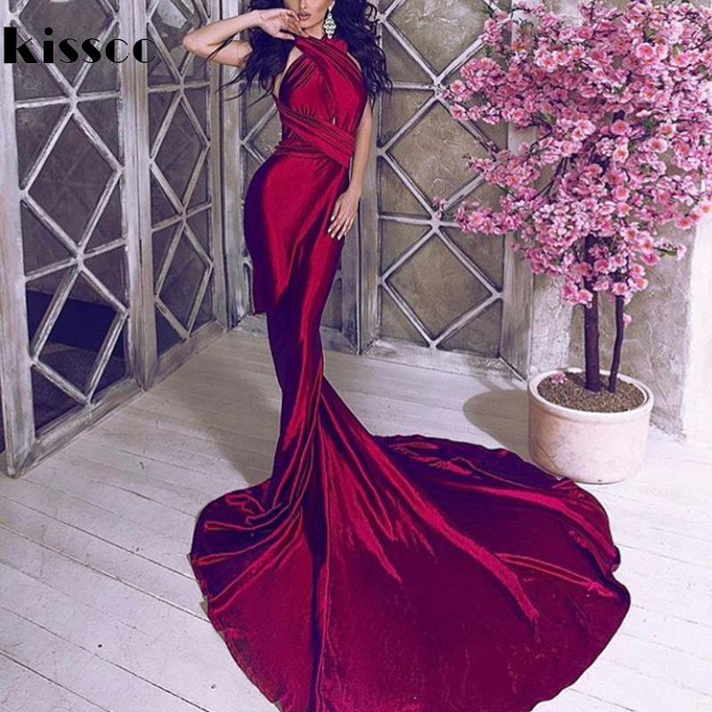 Sexy Backless Shiny Satin Deep V Neck aderente Mermaid Wedding Party Dress Halter vino rosso verde pavimento lunghezza sera Maxi vestito