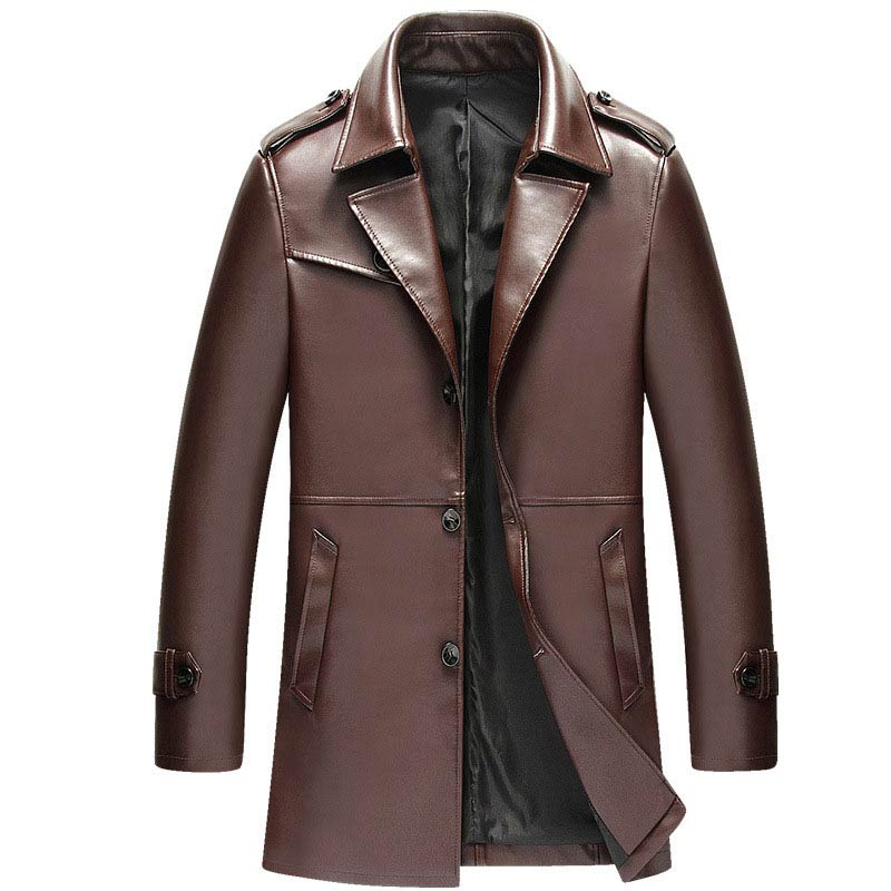 Compare Prices on Brown Leather Trench Coat Men- Online Shopping ...