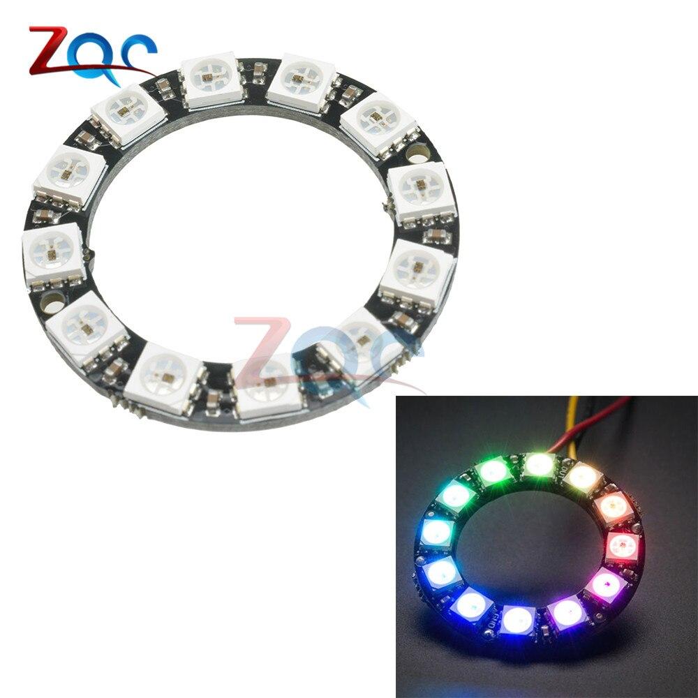WS2812B RGB LED Ring 12 Bits WS2812 5050 RGB LED With Integrated Driver Module For Arduino ws2812b 4 4 16 битный полноцветный 5050 rgb светодиодные лампы свет панели для arduino