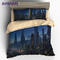 AHSNME fantasy future city science fiction simulation city Bedding United States Australia Europe King Queen Size cover Set