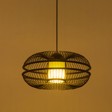 Modern Antique Pendant lamp Handmade Weaving Wood knitted Black Pendant Light For Round Parlor Study Hotel Pendant Lighting G022(China)