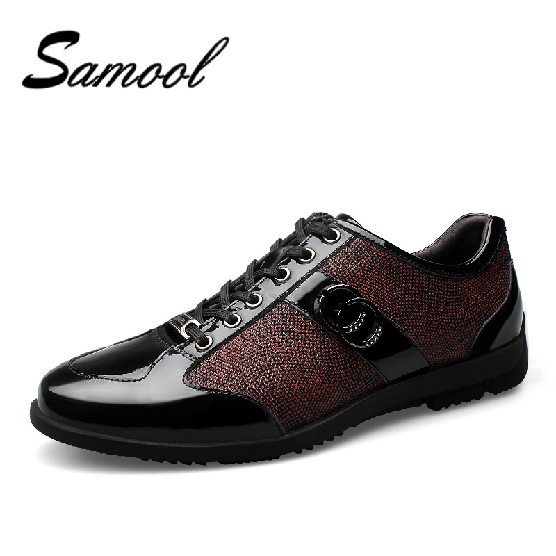 Mens Casual Shoes Bright Genuine Leather Shoes For Men Lace-Up Breathable Fashion Flats Fashion Male Shoes Outsole Hombre QX5 real autumn winter shoes men genuine leather lace up mens casual handmade fashion luxury brand flat breathable flats male shoe