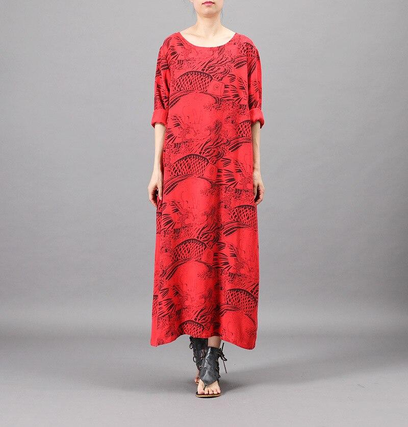 2019 dames printemps imprimer robe femmes poisson motif robe doux coton festif rouge brun rétro robe