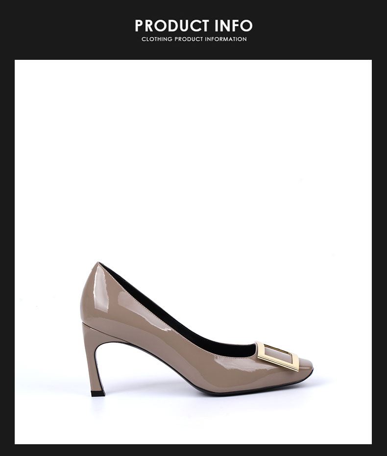 616b385770b51 Italian ladies  Ivory ash sheepskin shoes High heeled patent leather ...