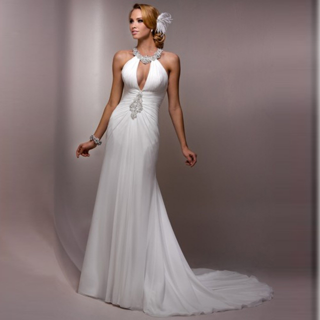 Don's Bridal Sale Whole Chiffon Flowing Beach Halter Neck Sexy Backless Wedding dress Dresses 2016 Sweep Trains