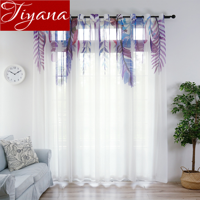 Purple Feature Chiffon Solid Voile Curtain For Living Room White Tulle Curtain Kitchen Sheer Fabrics Drapes Treatment X504#30