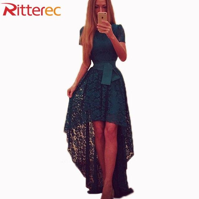 2016 Women New Fashion Summer Dress Asymmetrical Patchwork Dress Hollow Out Short Sleeve O Neck Lace Maxi Dresses