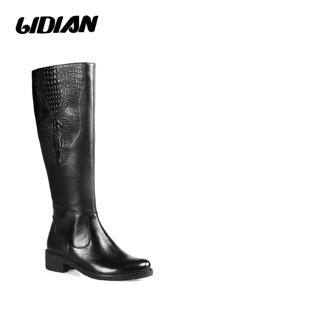 LIDIAN high boots Women Crocodile pattern vintage calf leather back Winter boots Short Plush or Wool lining knee high Boots H7