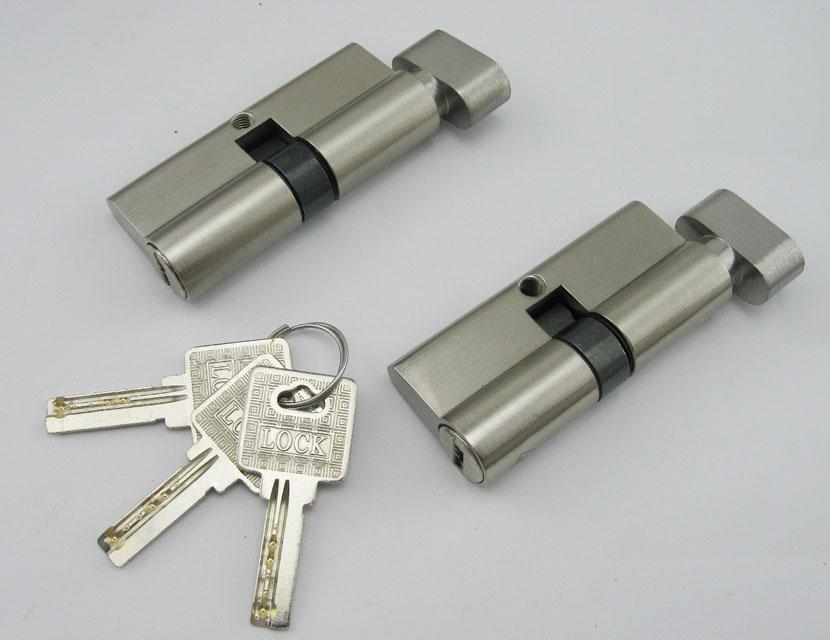 Free Shipping 1pcs High Quality Door Lock Cylinder Interior Door Lock Cylinder With 3 Brass Key Lock Gall Keyed Alike HM181 35 55mm door thickness door handle brass lock with 70mm key lock