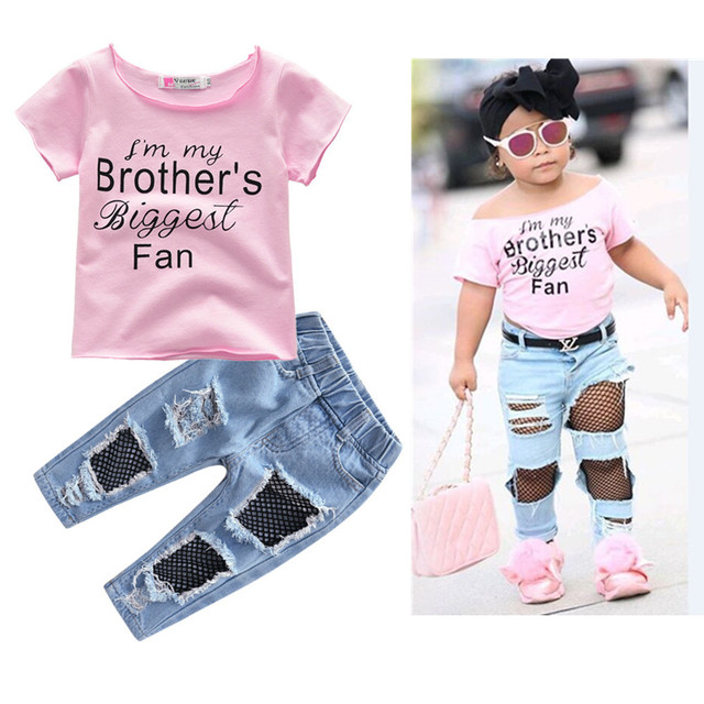 2e28c2514 2018 Fashion Children Girls Clothes set letter printing pink tshirt+ ...