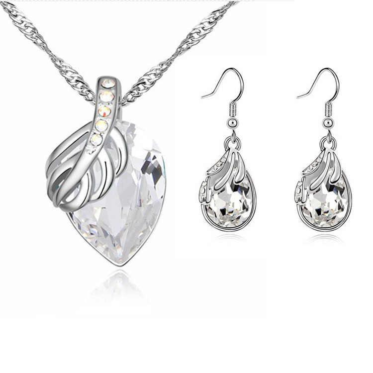 Großhandel Österreichischen Kristall Wasser Tropfen Blätter Ohrringe Halskette Schmuck sets Klassische Hochzeitstag Geschenk Für Frauen