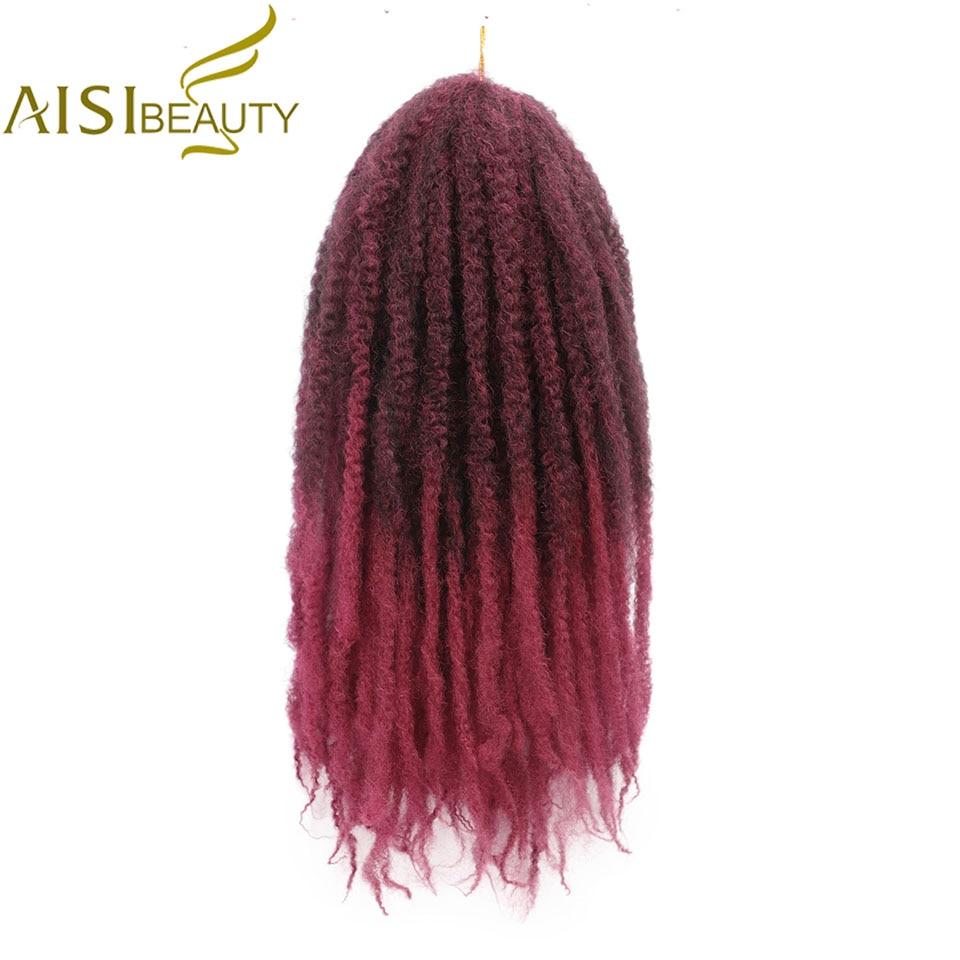 Ombre Marley Braids Hair Crochet Afro Kinky 18 Inch Synthetic Braiding Hair Crochet Braids Hair Extensions Bulk
