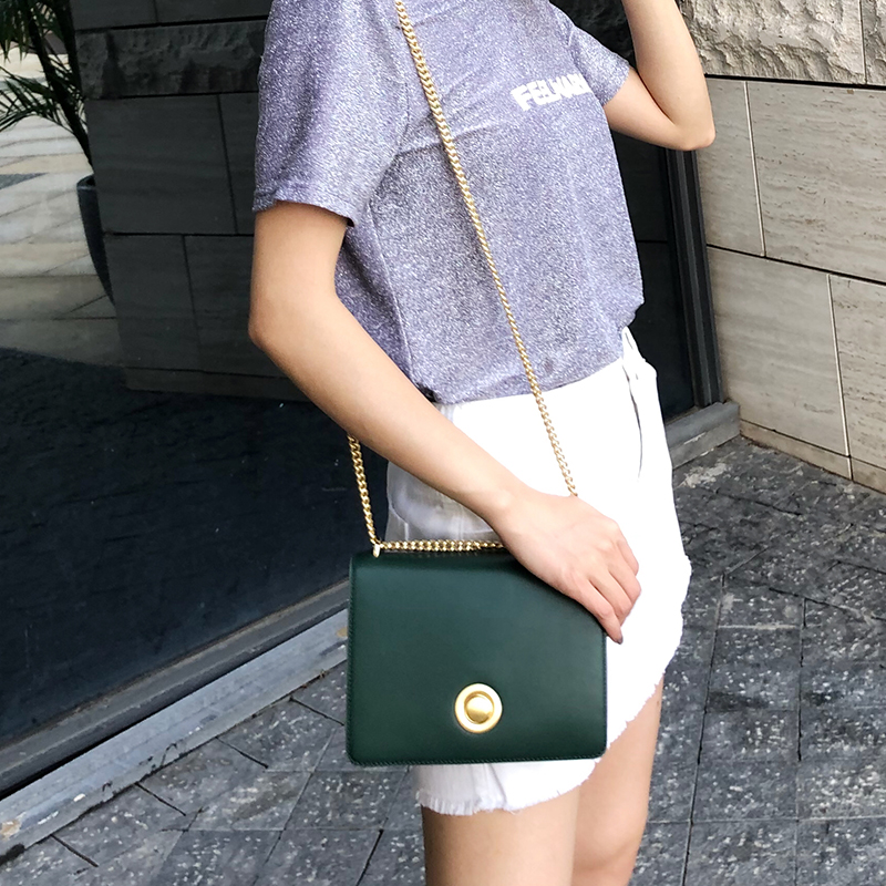 EMINI HOUSE Chain Ring Lock Flap Bag Genuine Leather Women Shoulder Bag Fashion Solid Panelled Crossbody Bags For Women