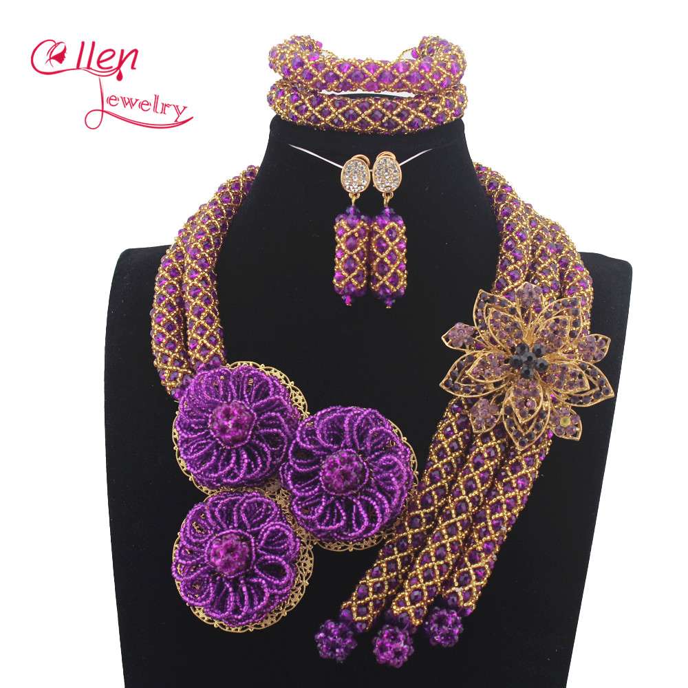 Luxury purple Nigerian wedding bridal beads necklace African accessories beads jewelry sets dubai beaded jewelry sets  N0058