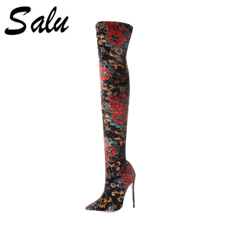Salu Genuine Leather stretch fabric Women over the knee Boots Sexy High Heels Pointed toe Autumn Boots Fashion Women's Shoes allbitefo fashion sexy high heels stretch fabric over the knee boots brand pointed toe high heel shoes women boots size 33 43