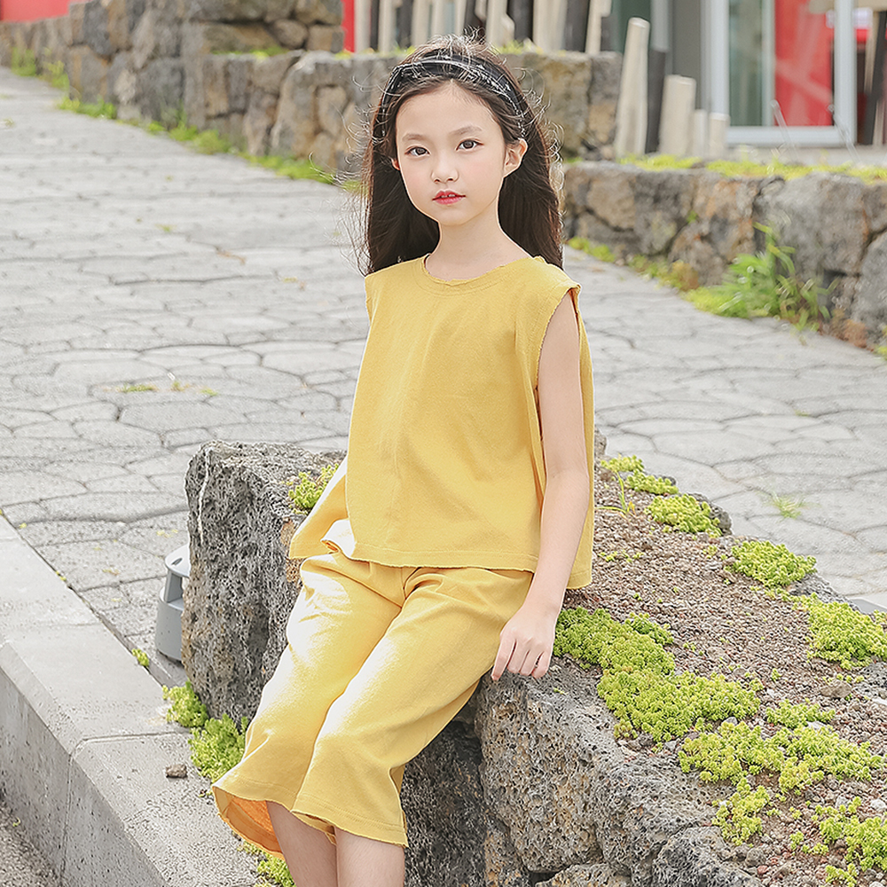 B-S196 New Fashion Summer Girls Casual Set 5-13T Teenager Girl Solid Color Set Kids Sleeveless T-shirt+Trousers 2pcs Outfit Suit women s stunning solid color t shirt and pleated spaghetti straps dress set