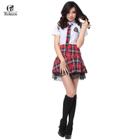 Factory Price High Quality Plus Size Short Sleeve Women Sailor Japanese School Uniforms Red Pleated Plaid