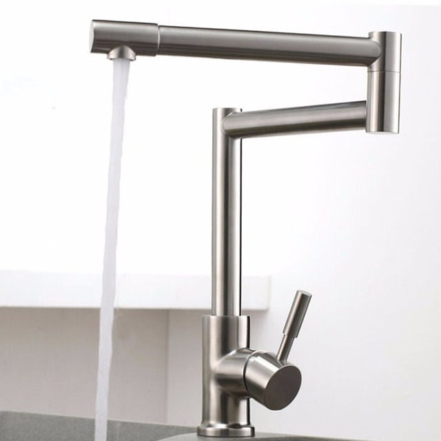 FLG 304 Stainless Steel Nickel Brushed Kitchen Faucet Mixer 360 ...
