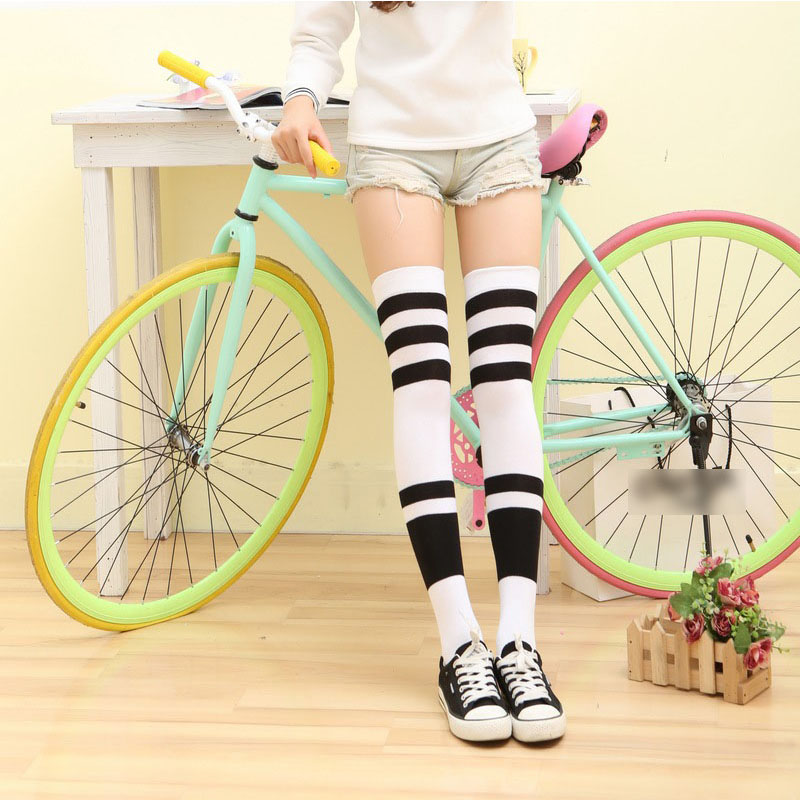 New fashion Women long tube Knee High sexy socks show Solid color striped Hit color Patchwork socks British style Model socks